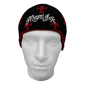 MIAMI INK Reversible Crosses And Stripes Beanie Hat (Red/Black)