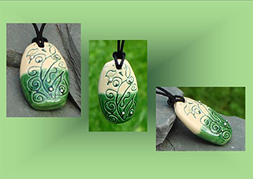abstract-necklace-ceramic-pendant-green-cream-pottery-silver-focal-bead-stoneware-jewelry
