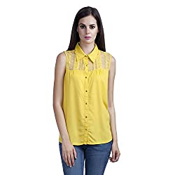 MansiCollections Women's Solid Casual Yellow Shirt (X-Large)