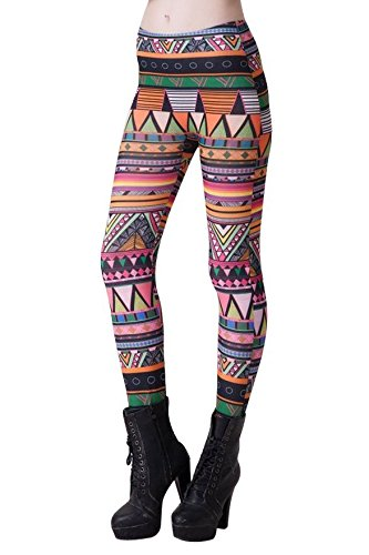 Spring fever Fashion Funky Print Stretch Leggings Seamless Full Length Yoga Pants (Aztec Print 2)