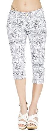 (4493152) Classic Designs Womens Bandana Print Stretch Twill Capri Jeans (Sizes 3-24) in Black Size: 24