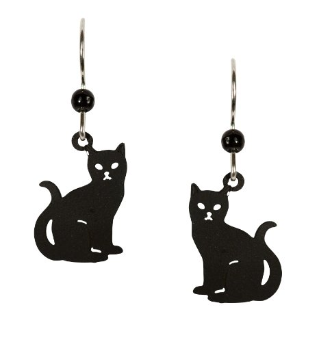 Black Cat Sterling Silver Ear Wires