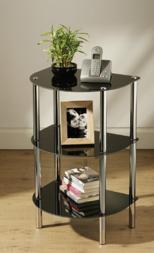 3 TIER D SHAPE END BLACK GLASS TABLE UNIT CHROME LEGS