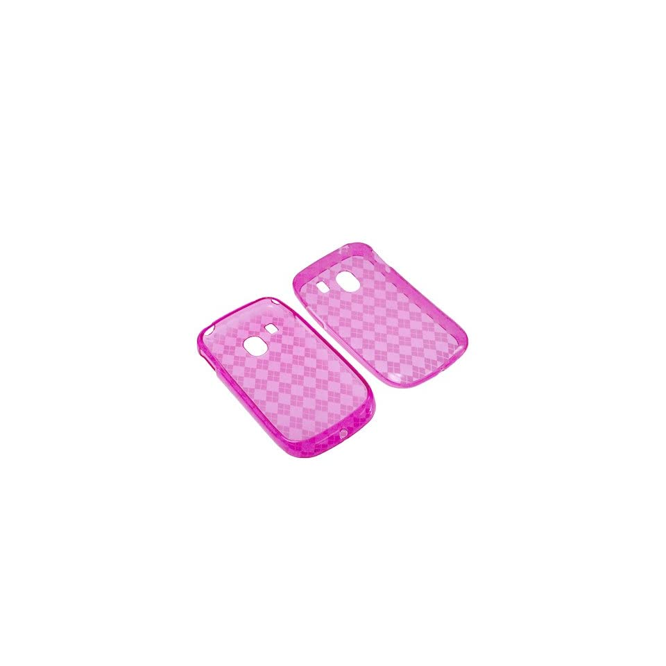 BW TPU Sleeve Gel Cover Skin Case for Tracfone LG 500G  Pink Checker