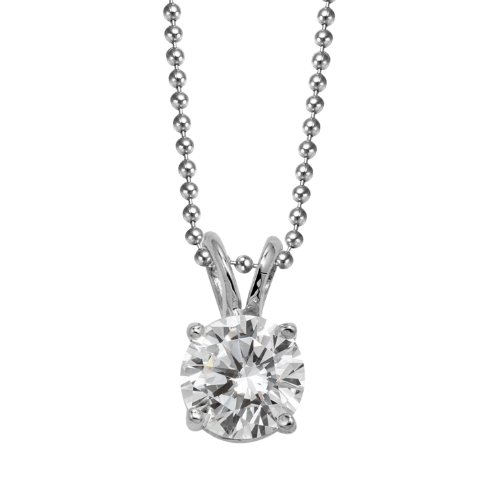 Elegant Hand-Made Sterling Silver 1.5 Carat Total Weight Solitaire Pendant, Round Shape Colorless Cubic Zirconia, (Chain Not Included) Comes with a Gift Box and Special Pouch.