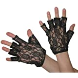 Halloween Black White or Red Fingerless Short Lace Gloves Fancydress Accessory