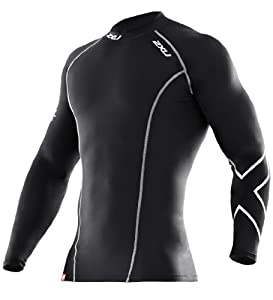 2XU Men's Compression Long Sleeve Top (Black/Black, Medium)