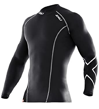 2XU Men's Compression Long Sleeve Top (Black/Black, Small)