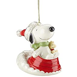 Lenox Sledding with Snoopy Christmas Ornament by Lenox