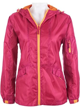 Harve Benard Hooded Rain Coat for Women DARK PINK/ORANGE Medium