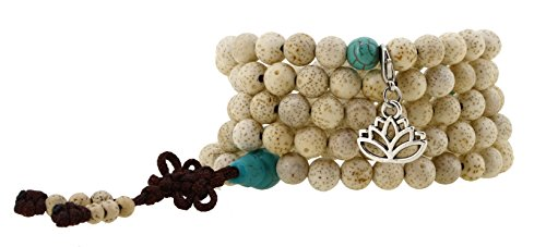 Handmade Zen Elastic String Lotus Seed Yoga Meditation 108 Prayer Beads Wrap Bracelet Mala with a Charm (Lotus Flower)