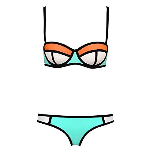 Pinkyee Damen Sexy Tauchanzug Neopren Nähte Farbe Badeanzug Bikini Set Bademode Gr. 36,  - Pattern Color-7