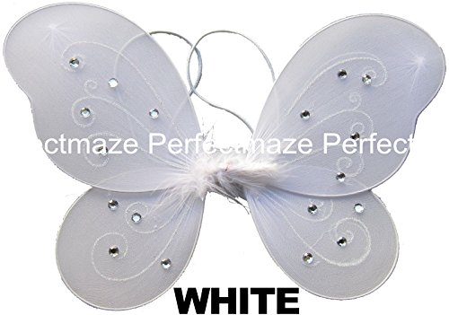 "Perfectmaze 12"" x 10"" Infant Child Fairy Princess Butterfly Wings Costume - White"