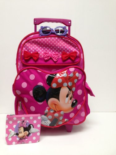Christmas Combo - Disney Minnie Mouse Large Rolling Backpack and Princess Water Bottle Set