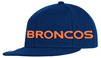 NFL Denver Broncos End Zone Flat Visor Flex Hat - Tw78Z, Navy, Large/X-Large