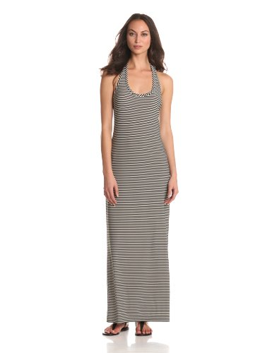 KAMALIKULTURE Women's Racer Maxi Dress, Black/Off-White, Large