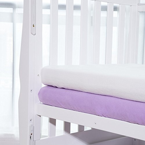 TillYou 2 Pack Fitted Crib Sheet-100% Woven Cotton Flannel(Breathable and Soft), Fit Standard Crib Mattress--White & Lavender (Lavender Crib Sheet compare prices)