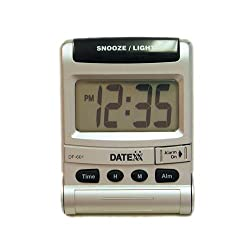 Datexx Travel Alarm Clock with Flip Cover and Stand