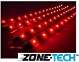 Zone Tech 30cm LED Car Flexible Waterproof Light Strip Red (pack of 4)