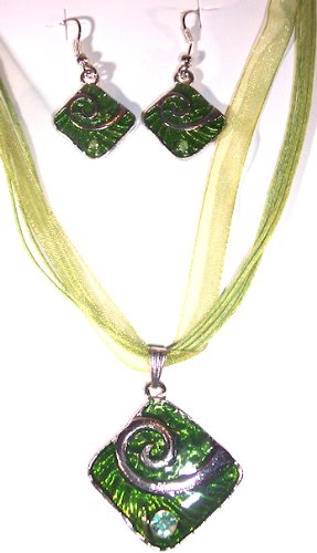 Silvertone with Green Color Enamel Abstract Necklace and Earring Set Nickle Free