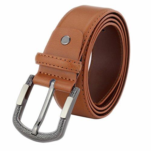 "Tangda Mens Real Leather Vintage Silver Buckle Waist Belt - Light Brown 41"""