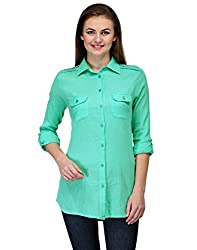 Kiosha Green Rayon Regular Collar Shirt for Women