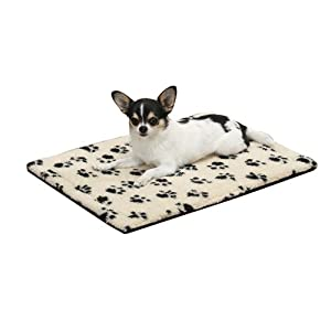 Slumber Pet Pawprint Dog Crate Mat, Medium, Ivory
