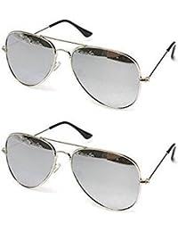 Sheomy Unisex Combo Pack Of Aviator Sunglasses For Men And Women - Mirrored Sunglasses ( Silver Mercury Combo)...