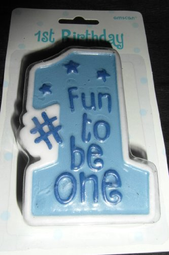 Amscan Fun to be One Party Boy's 1st Birthday Candle (1 count), Blue - 1
