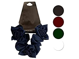 Bulk Buys Chiffon Scrunchi with Twisted Ruffle Flower Accents (Set of 48)