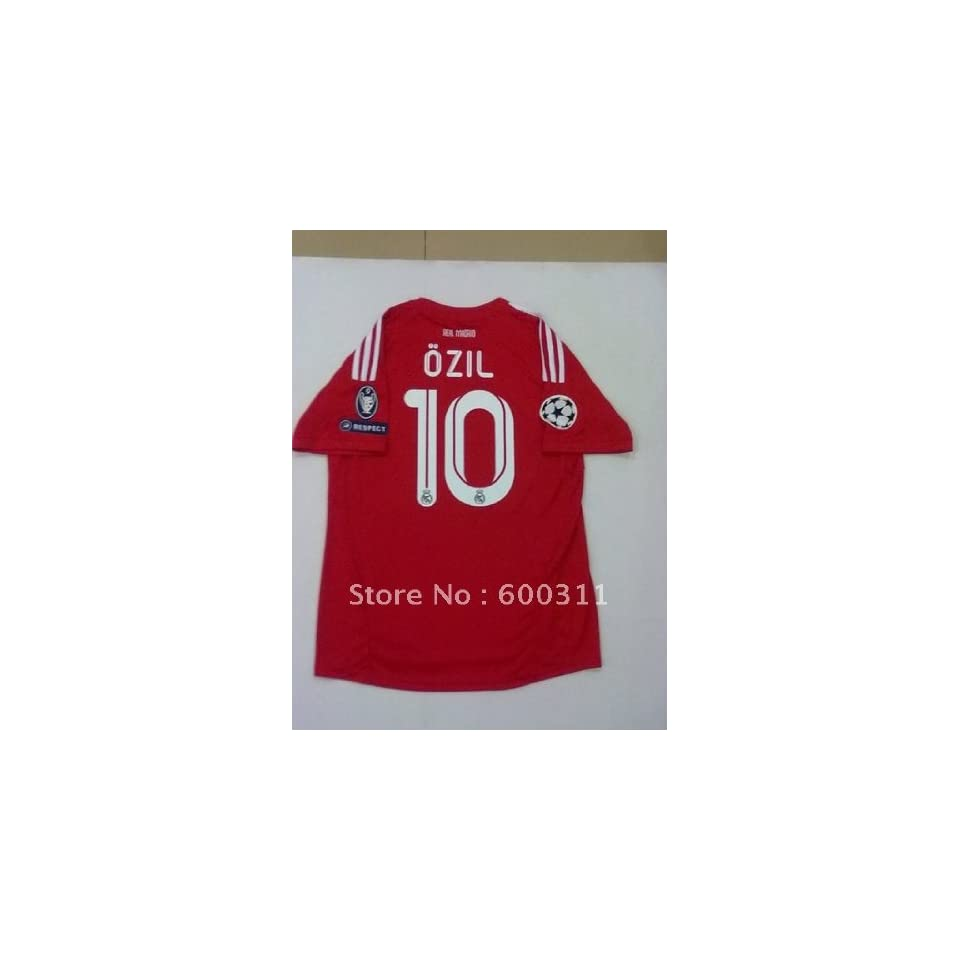 whole red realmadrid 11 12 champions league soccer jersey football jersey  10  ozil 33e71771c