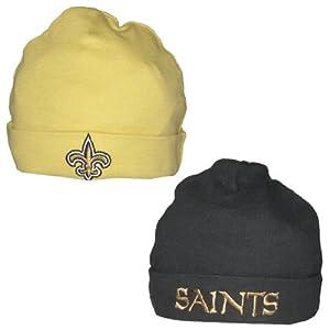 (Pack of 2) NFL New Orleans Saints Infant Roll Up Beanie 0-6M Beige & Black