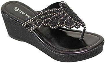 Top Moda OR-8 Women39s platform wedge slipper shinny bling rhinestone butterfly upper flip-flops