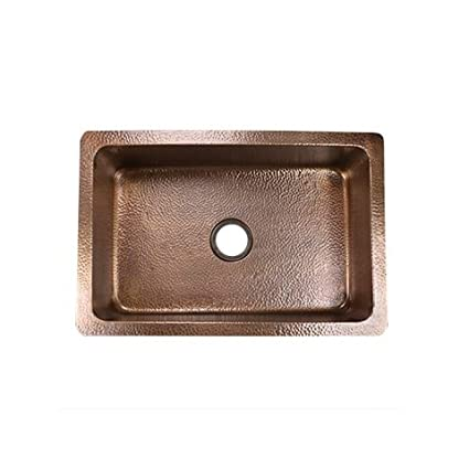 "Nantucket Sinks CU302010-HLA Copper Hammered Undermount Kitchen Sink, Copper, 30""X20"""