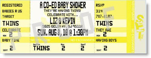 Co-Ed Baby Shower Ticket Invitations