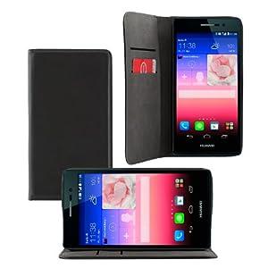 iProtect Huawei Ascend P7 Leder Tasche im Bookstyle schwarz Schutzhülle mit integriertem Magnetverschluss
