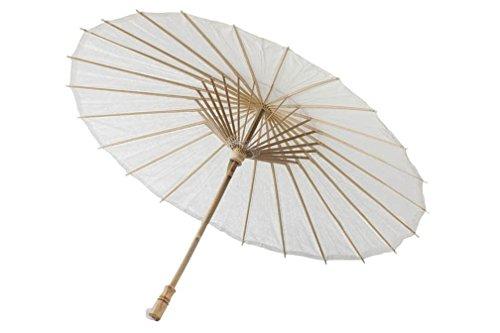 Darice VL6633 Parasol Natural Paper Bamboo Umbrella, 32-Inch, White