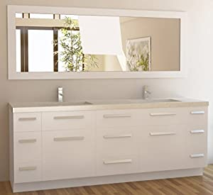 Design Element Moscony Double Sink Vanity Set With White Finish 84 Inch Ba