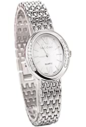 Royal Crown Women's Waterproof Watch Stainless Steel Quartz Mother of Pearl Dial Oval 6309S-S
