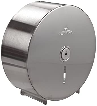 "Georgia-Pacific 584-93 10.75"" Width x 10.75"" Height x 4.44"" Depth, Stainless Steel Color,Jumbo Jr Bathroom Tissue Dispenser"