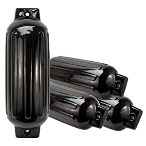 Buy Solid Tech 4 Boat Fender Black Twin-Eye Ribbed 27 x 8.5 Bumber Heavy Duty Dock Protection by Solid Tech