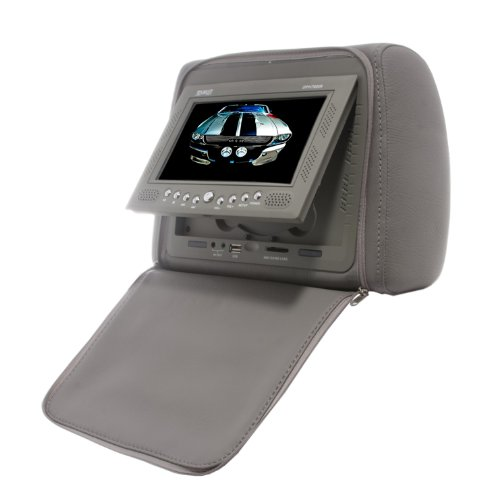 Absolute Dhp760Irg 7.5 Inch Headrest Pillow With Zipper Cover, Tft/Lcd Color Monitor With Built-In Dvd Player Usb/Sd/Mmc Card Reader And Ir Transmitter(Grey)