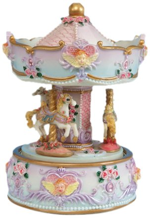 MusicBox Kingdom 14048 Carousel with Angle Bust Music Box Playing