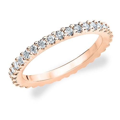 14K Rose Gold Diamond Knife Edge Eternity Band (1.0 Cttw, H-I Color, I1-I2 Clarity) Size 4