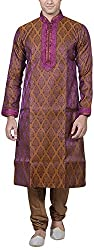 Amafhh Men's Silk Kurta Pyjama (amfbkp4016, Light Brown, 40)