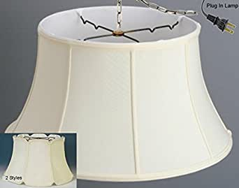 plug in bell silk drum swag lamp pendant light chandelier hanging. Black Bedroom Furniture Sets. Home Design Ideas