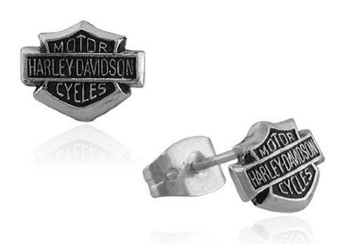 Harley Davidson® Bar & Shield post sterling earrings HDE0085 by MOD®