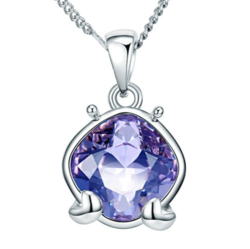 The Starry Night Purple Crystal Twelve Constellations Shining Silver Cancer Females Necklace (Juicing Package compare prices)