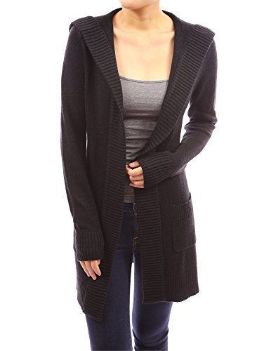 PattyBoutik Women's Wool Blend Hoodie Knit Sweater Cardigan (Black XL)