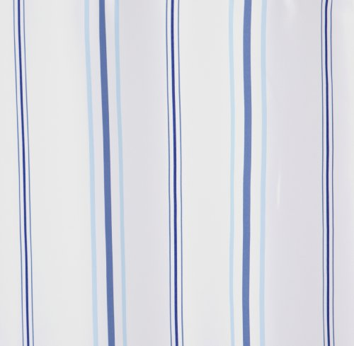 best shower curtain hookless fabric white w blue stripes